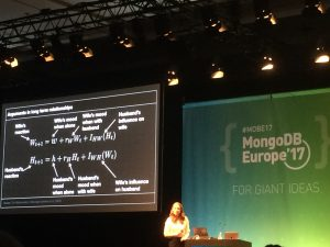 Hannah Fry presenting very interesting data at MongoDB Europe, including this equation